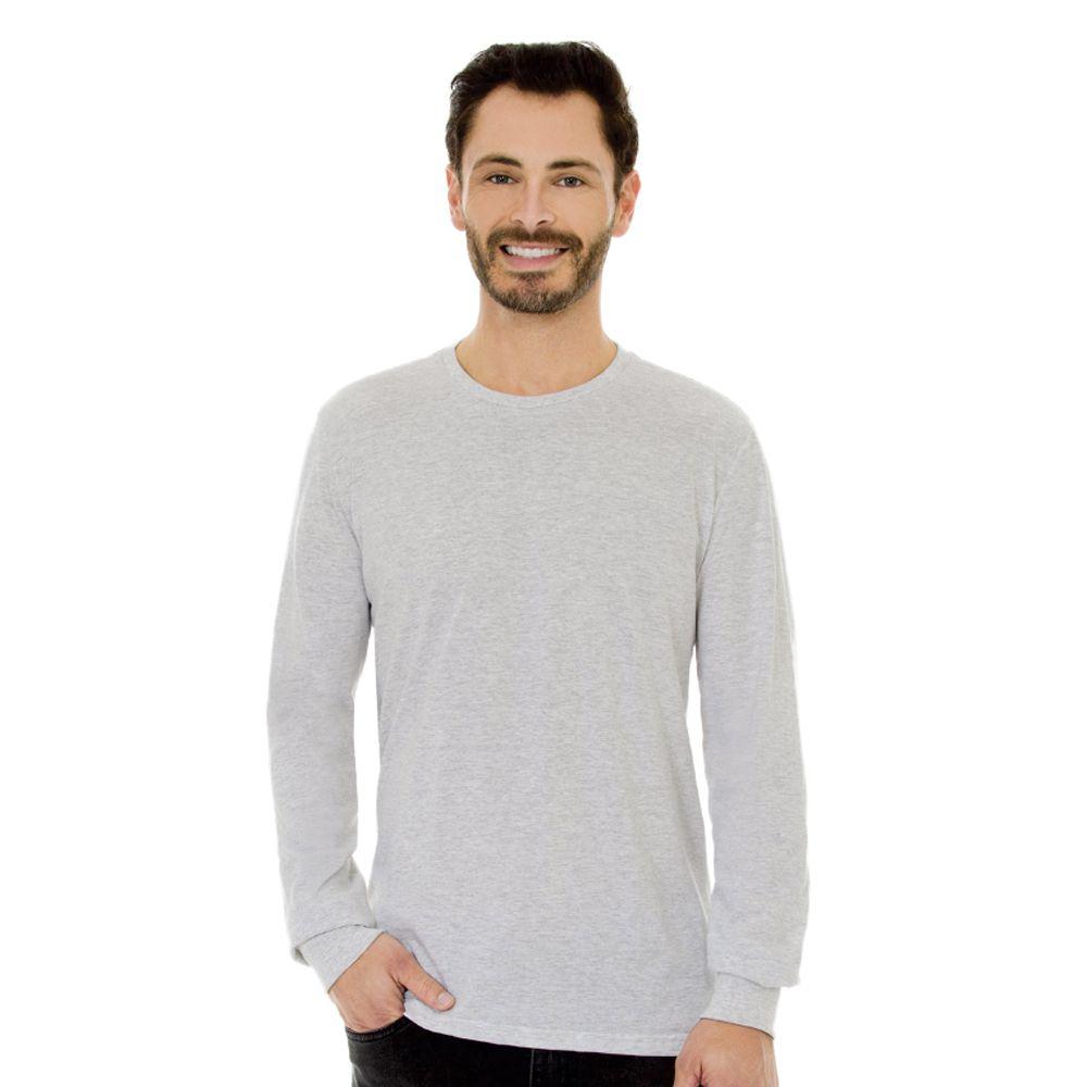 Camiseta Masculina Básica Manga Longa Cinza Mescla
