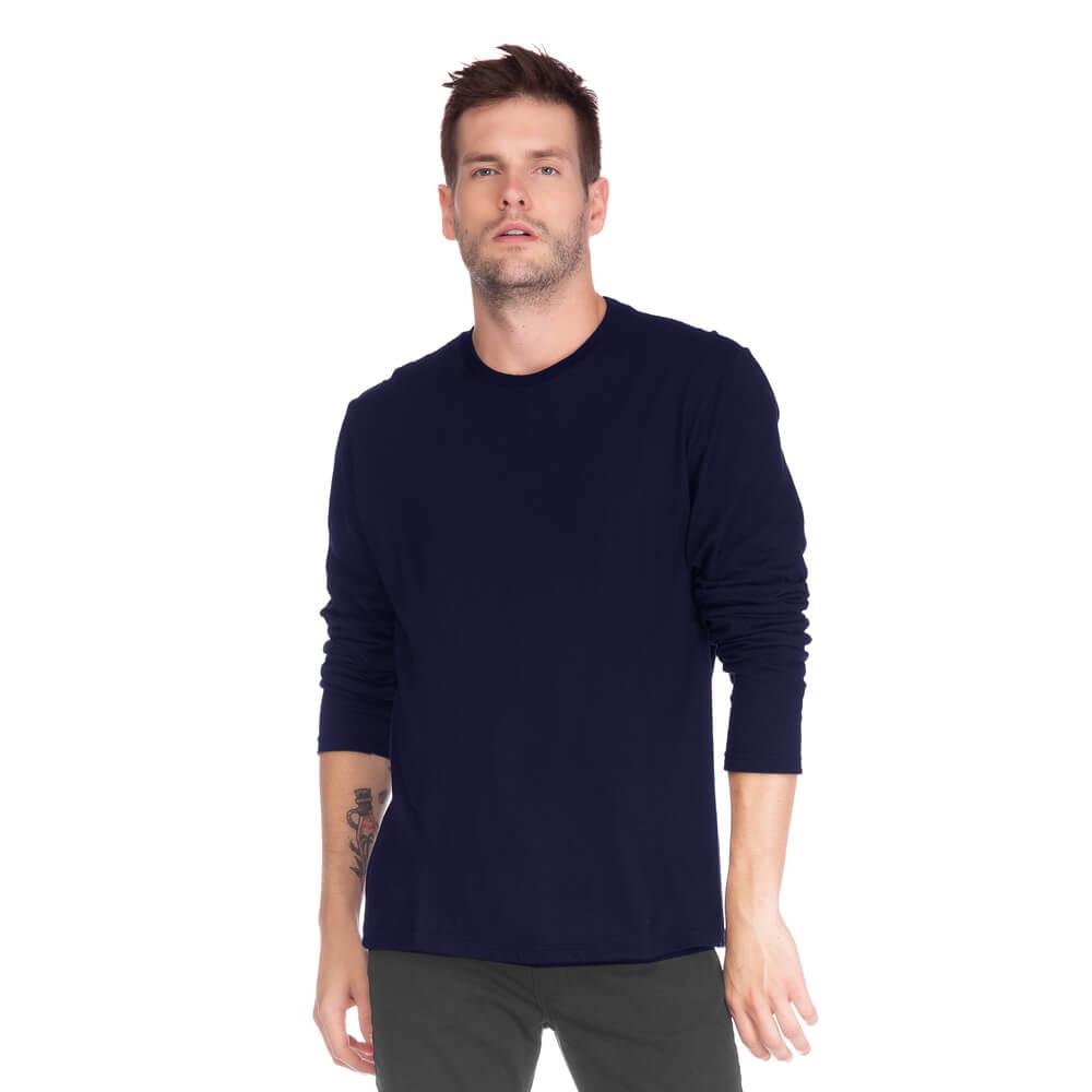Camiseta Masculina Básica Manga Longa Marinho