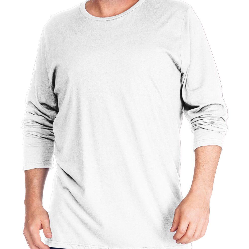Camiseta Masculina Básica Manga Longa Plus Branca