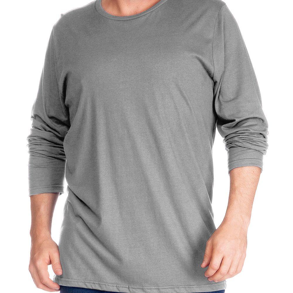 Camiseta Masculina Básica Manga Longa Plus Cinza