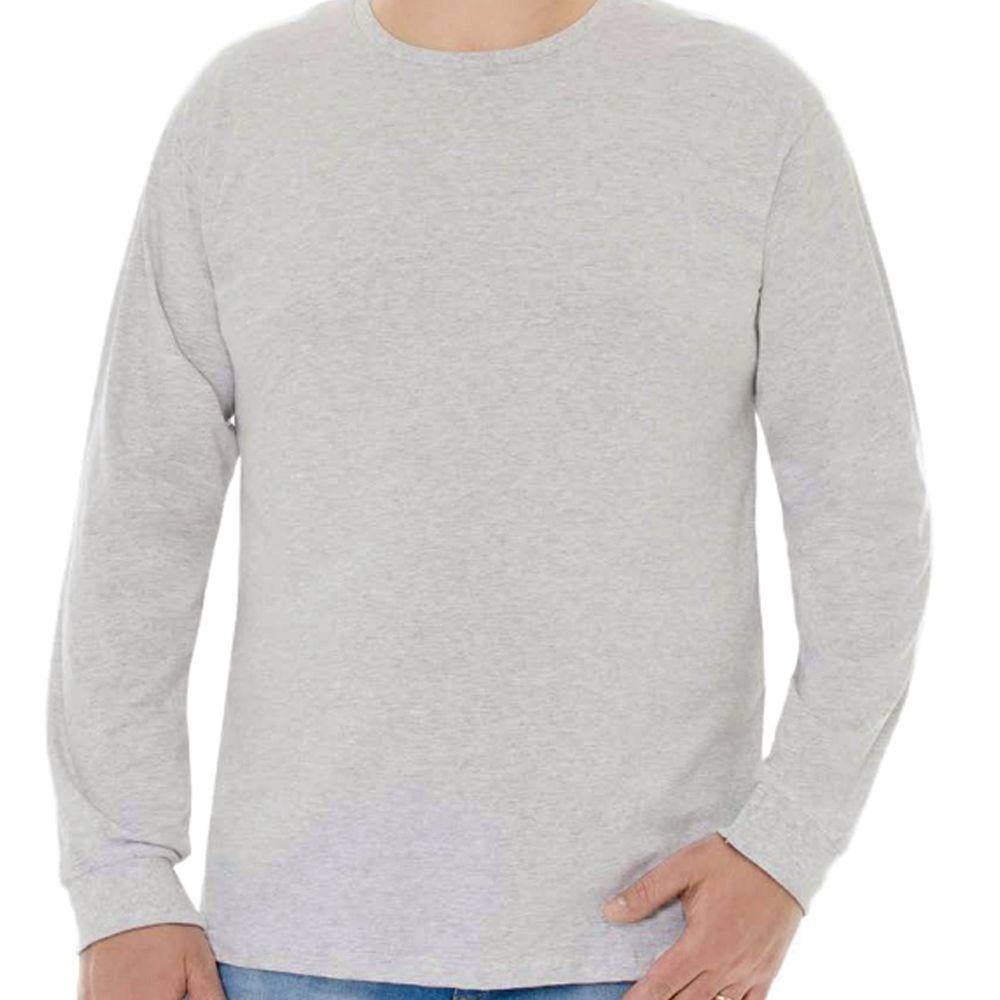 Camiseta Masculina Básica Manga Longa Plus Cinza Mescla