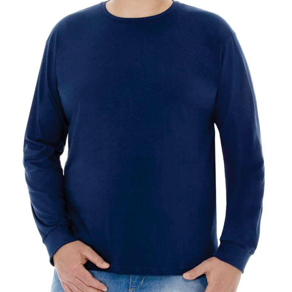 Camiseta Masculina Básica Manga Longa Plus Marinho