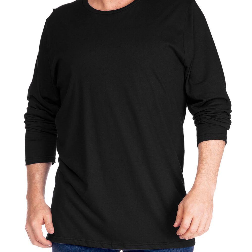 Camiseta Masculina Básica Manga Longa Plus Preta