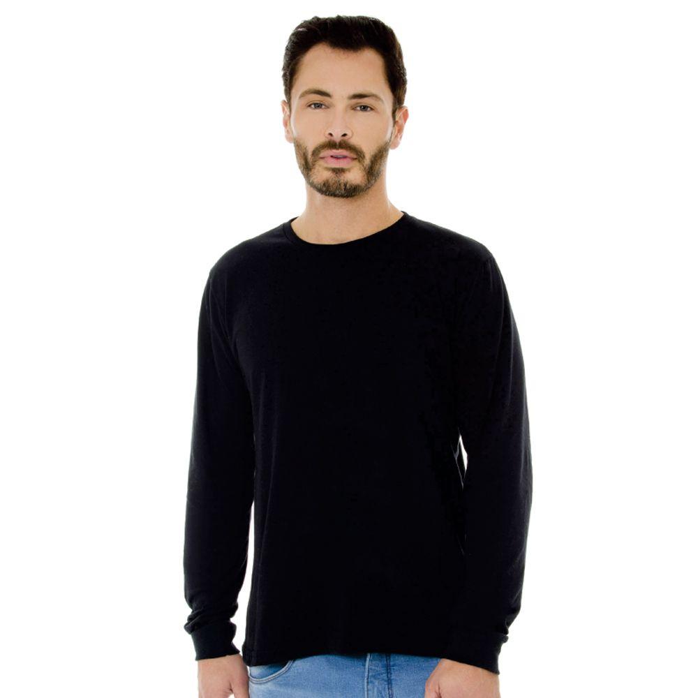 Camiseta Masculina Básica Manga Longa Preta