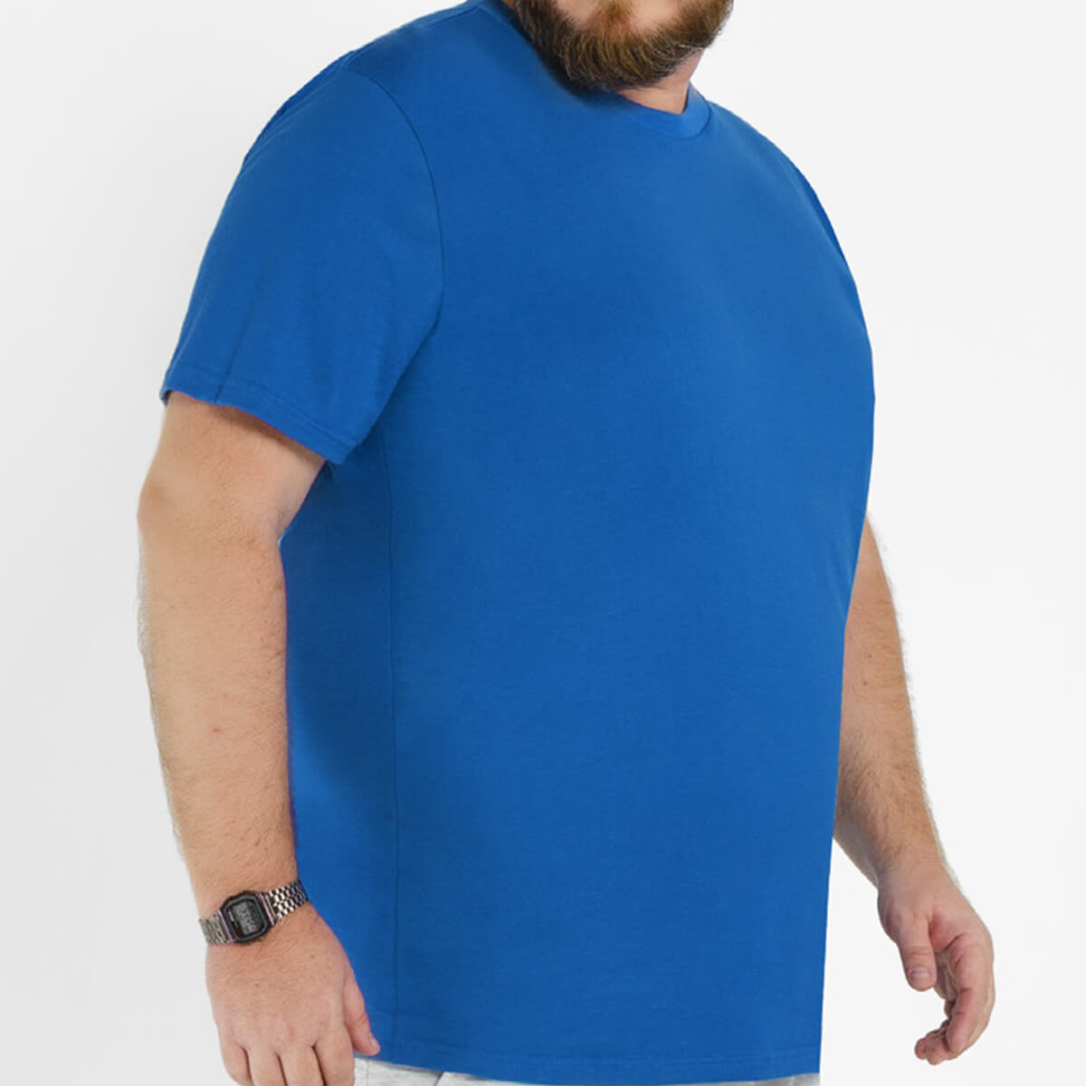 Camiseta Masculina Básica Plus Size Comfort Azul