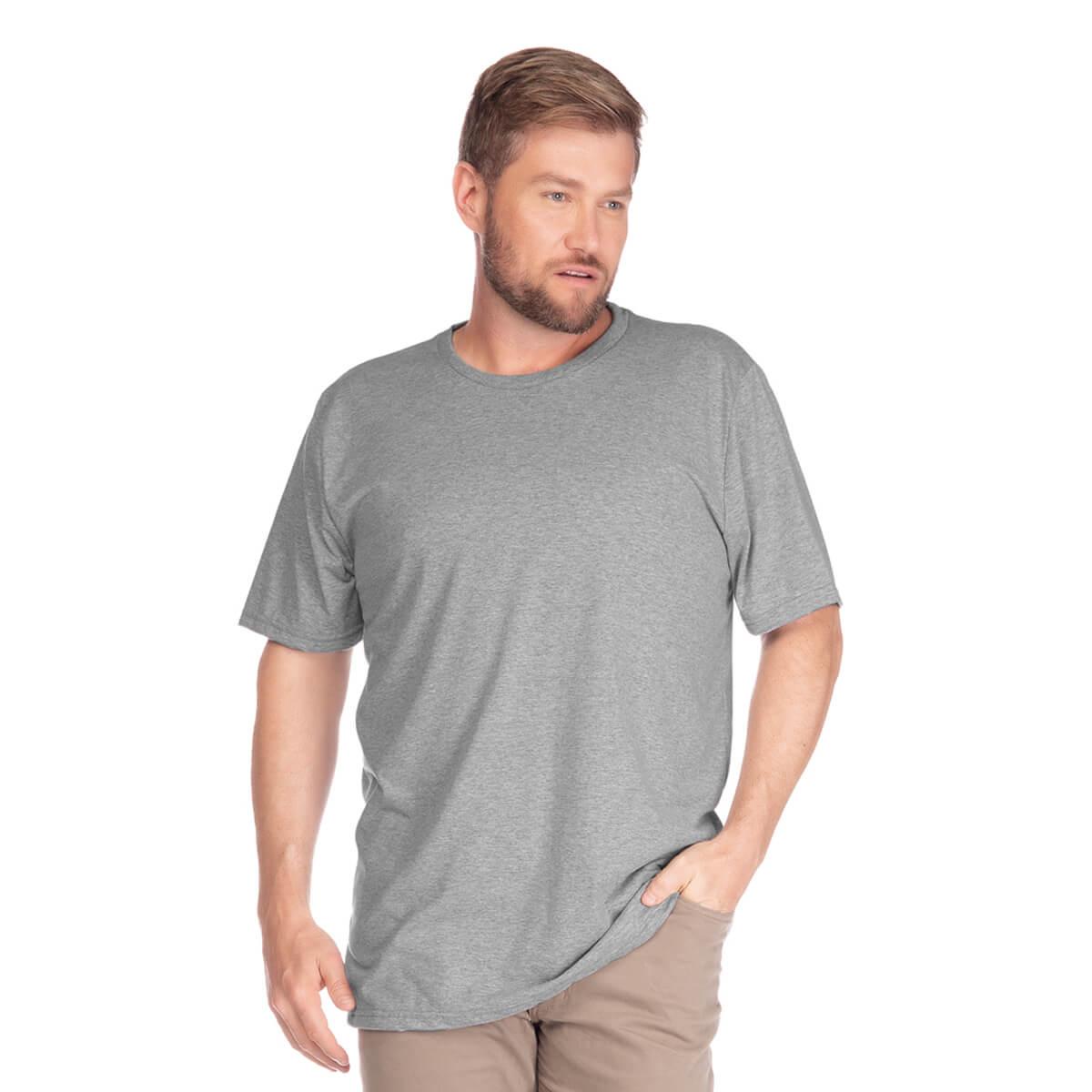 Camiseta Masculina Básica Plus Size Comfort Cinza