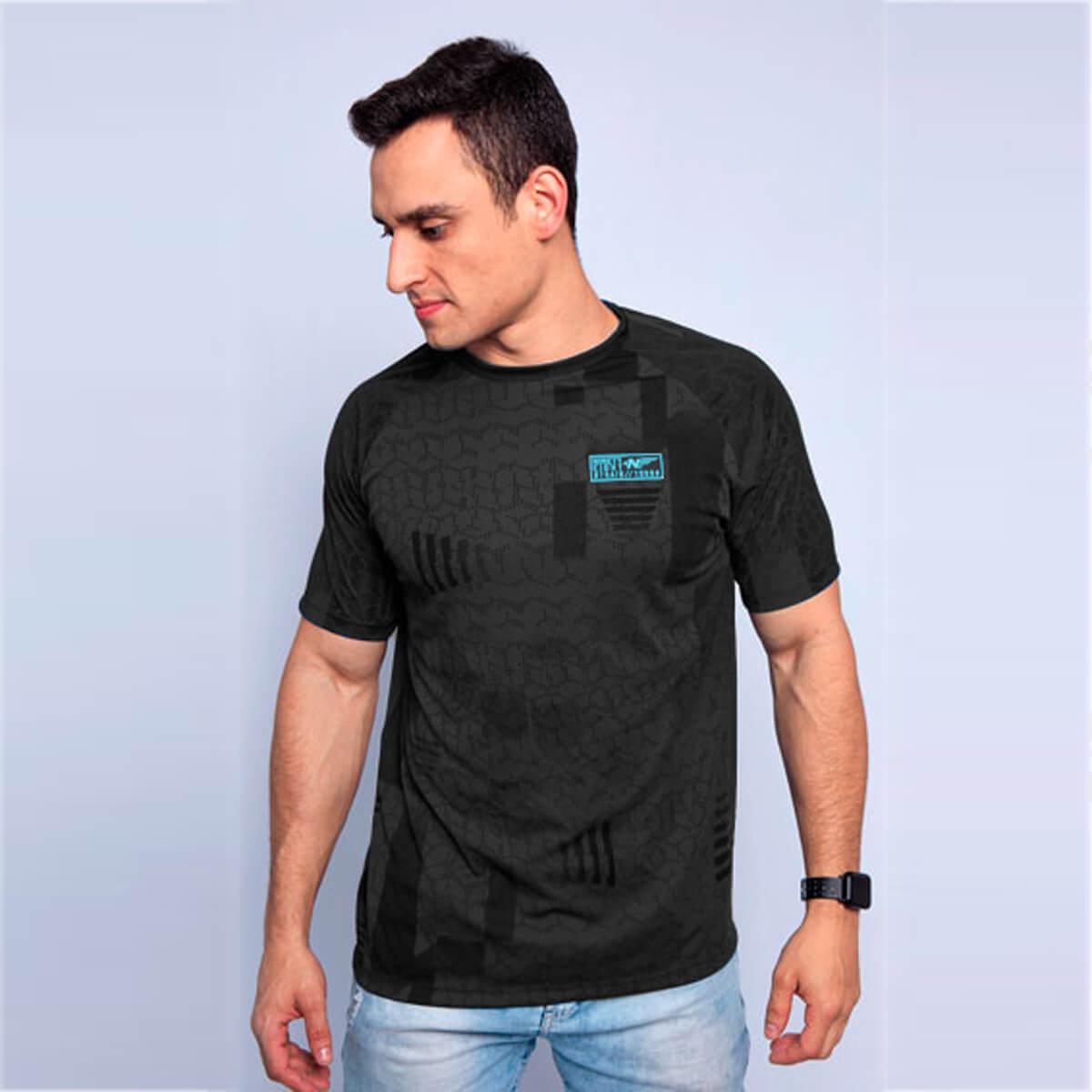 Camiseta Masculina Dry Geo Grafite