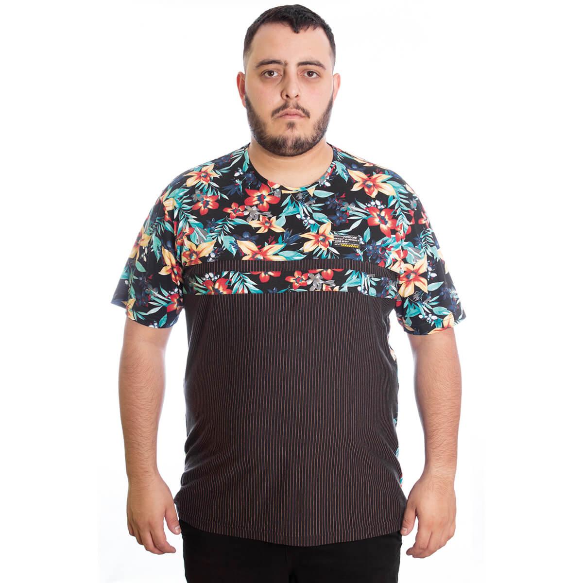 Camiseta Masculina Estampada Plus Floral