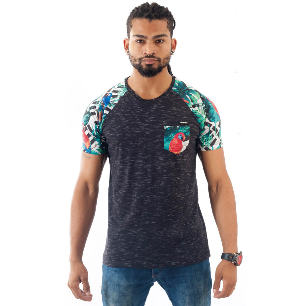 Camiseta Masculina Estampada Tropical