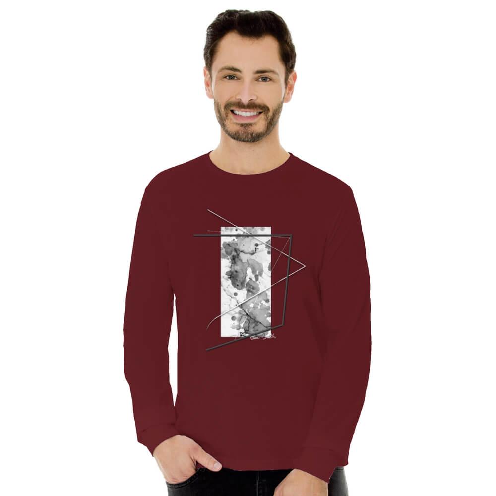 Camiseta Masculina Manga Longa Estampada Abstrato