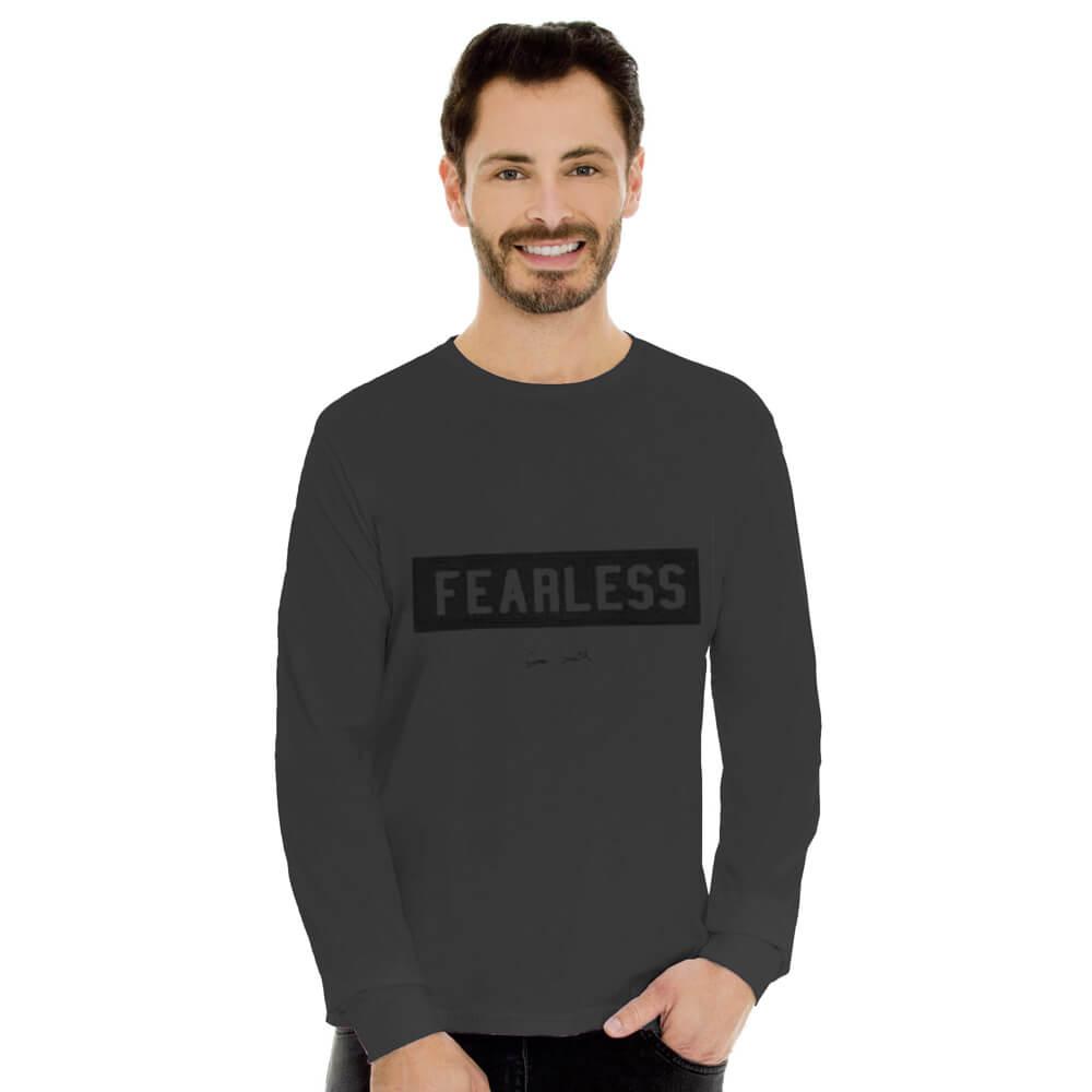 Camiseta Masculina Manga Longa Estampada Fearless