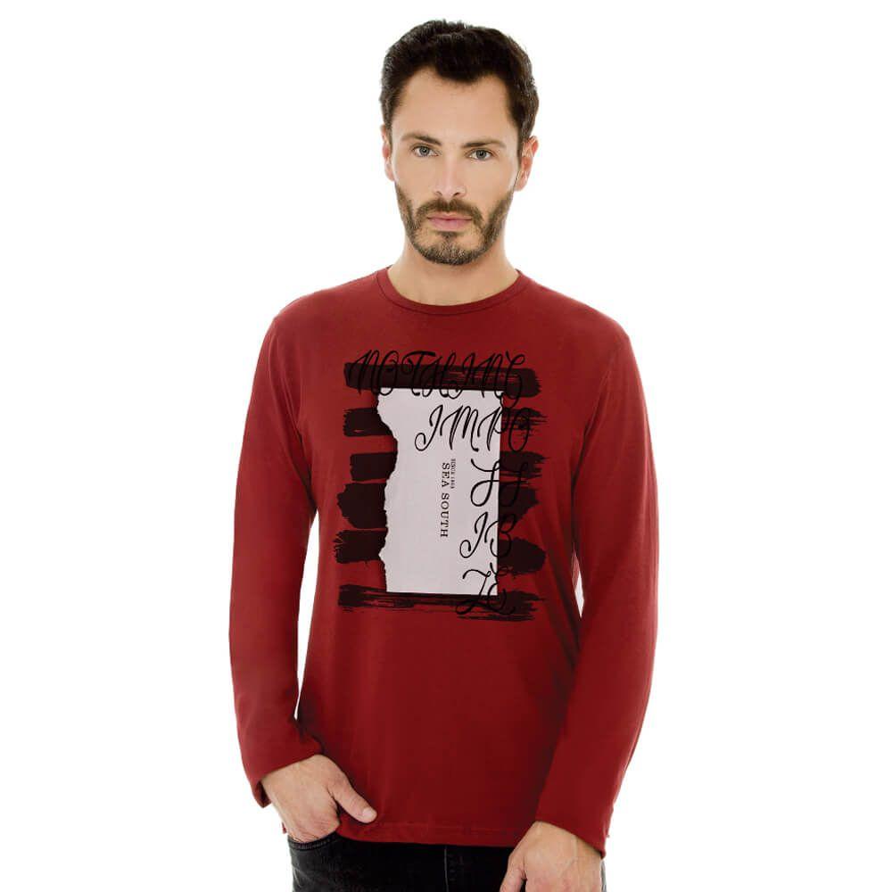 Camiseta Masculina Manga Longa Estampada Nothing Vermelha