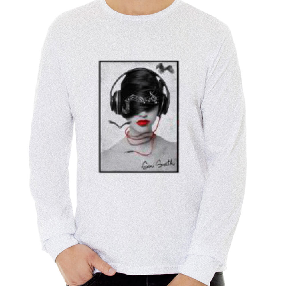 Camiseta Masculina Manga Longa Estampada Phone