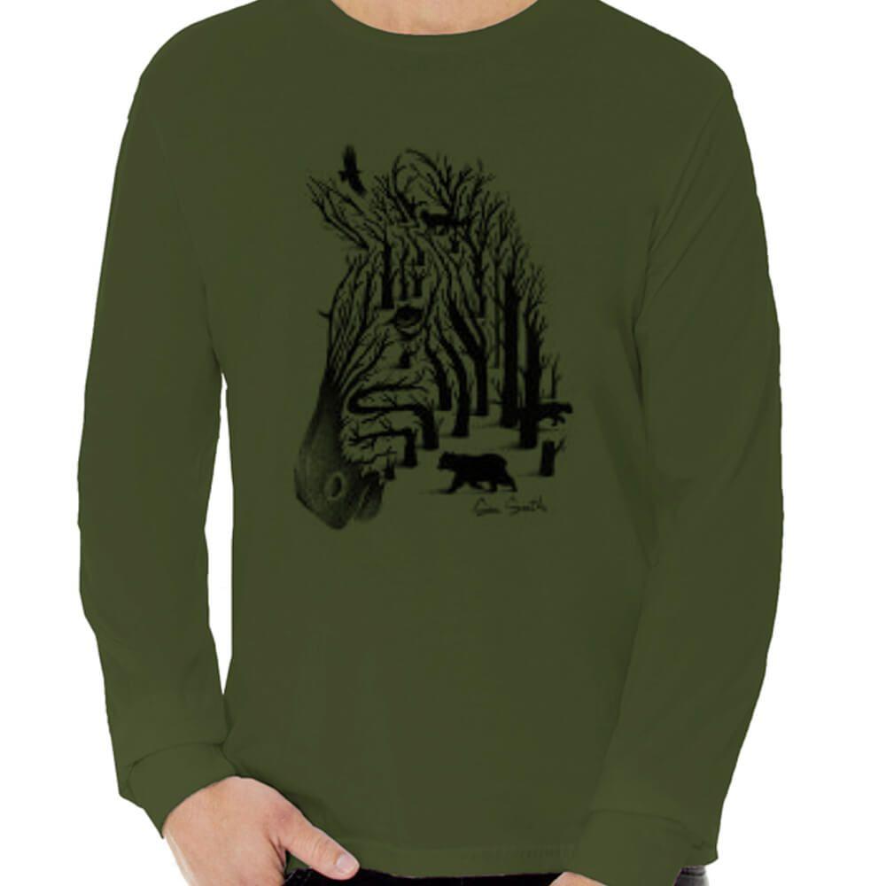 Camiseta Masculina Manga Longa Estampada Zebra