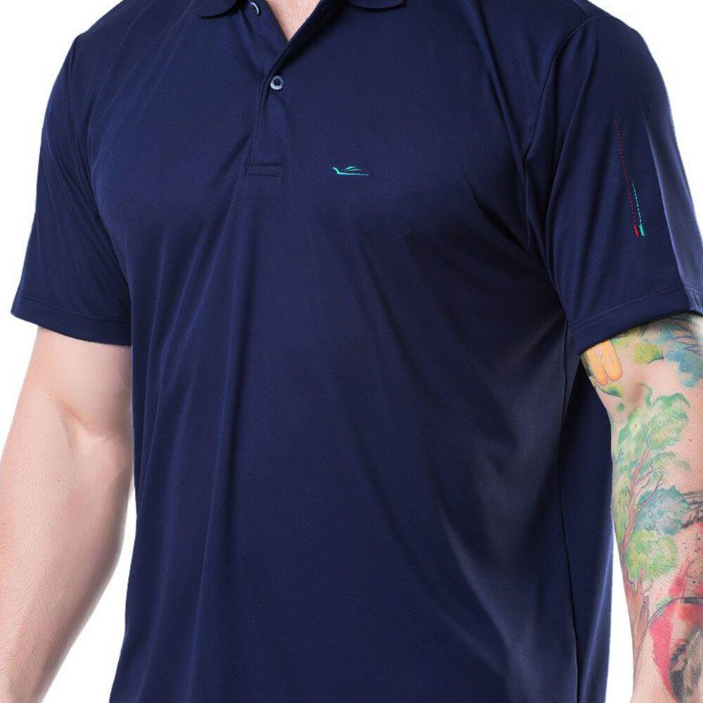 Camiseta Polo Masculina Dryline Marinho