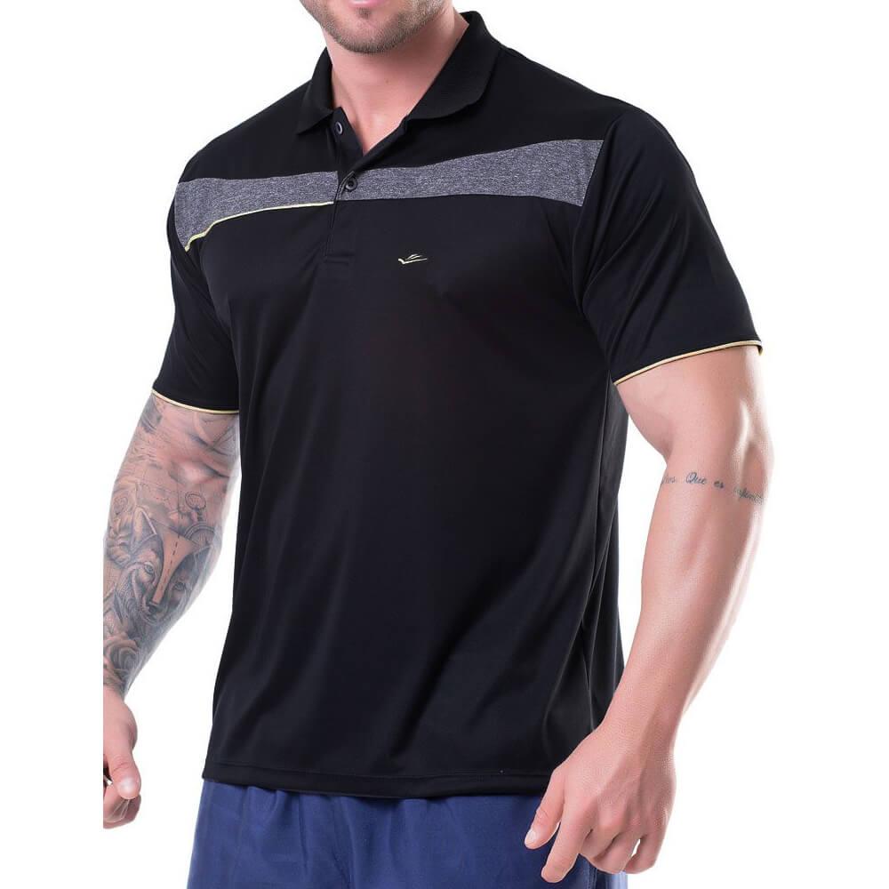 Camiseta Polo Masculina Dryline Preta