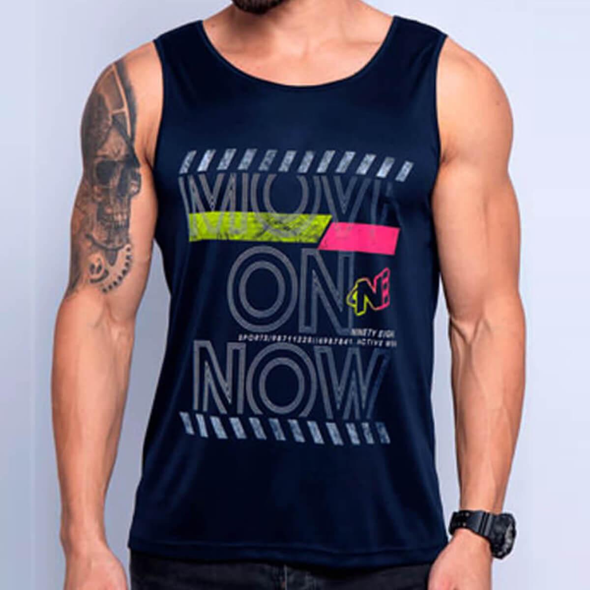Camiseta Regata Masculina Dry Move On Marinho