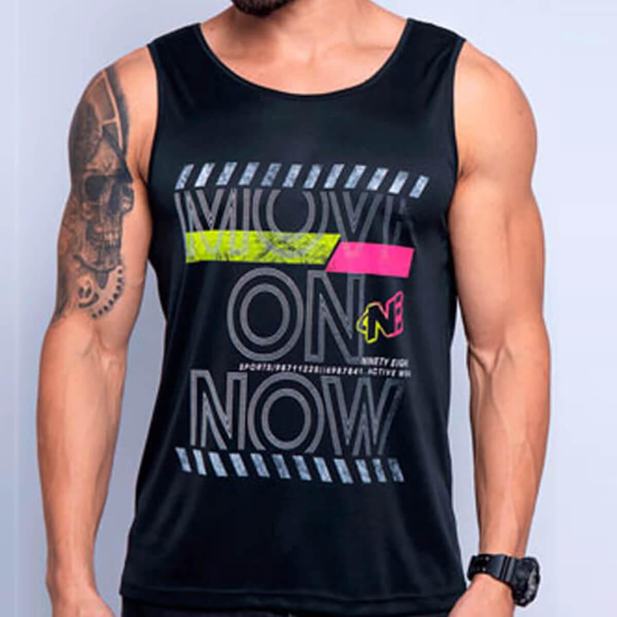 Camiseta Regata Masculina Dry Move On Preta