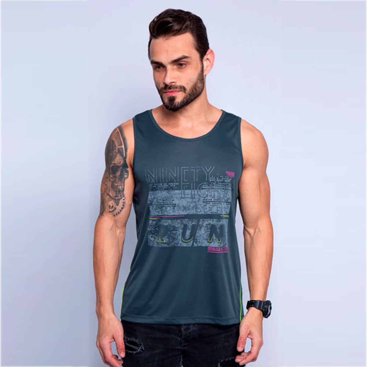Camiseta Regata Masculina Dry Ninety Chumbo