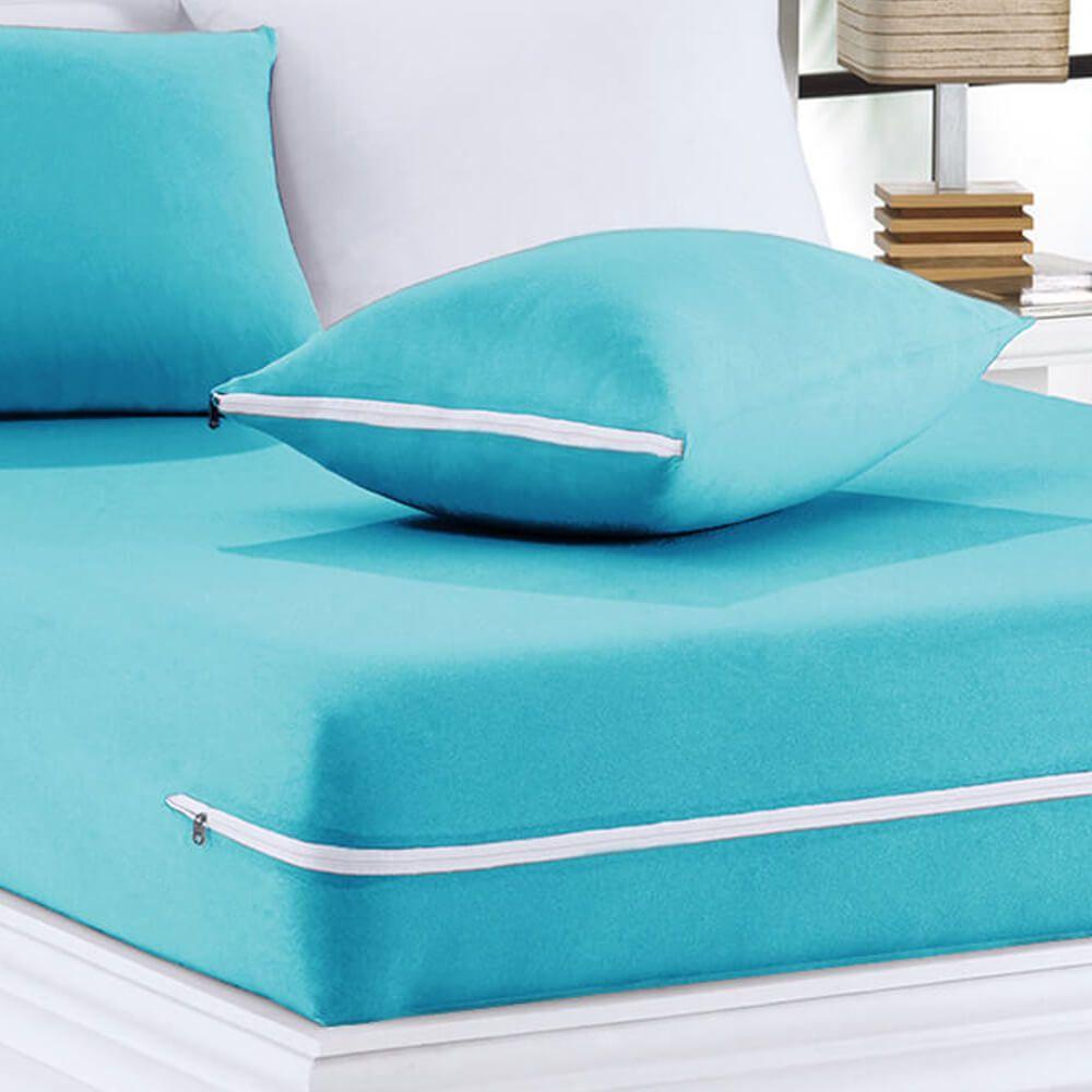 Capa de Colchão Casal Atual Malha Azul