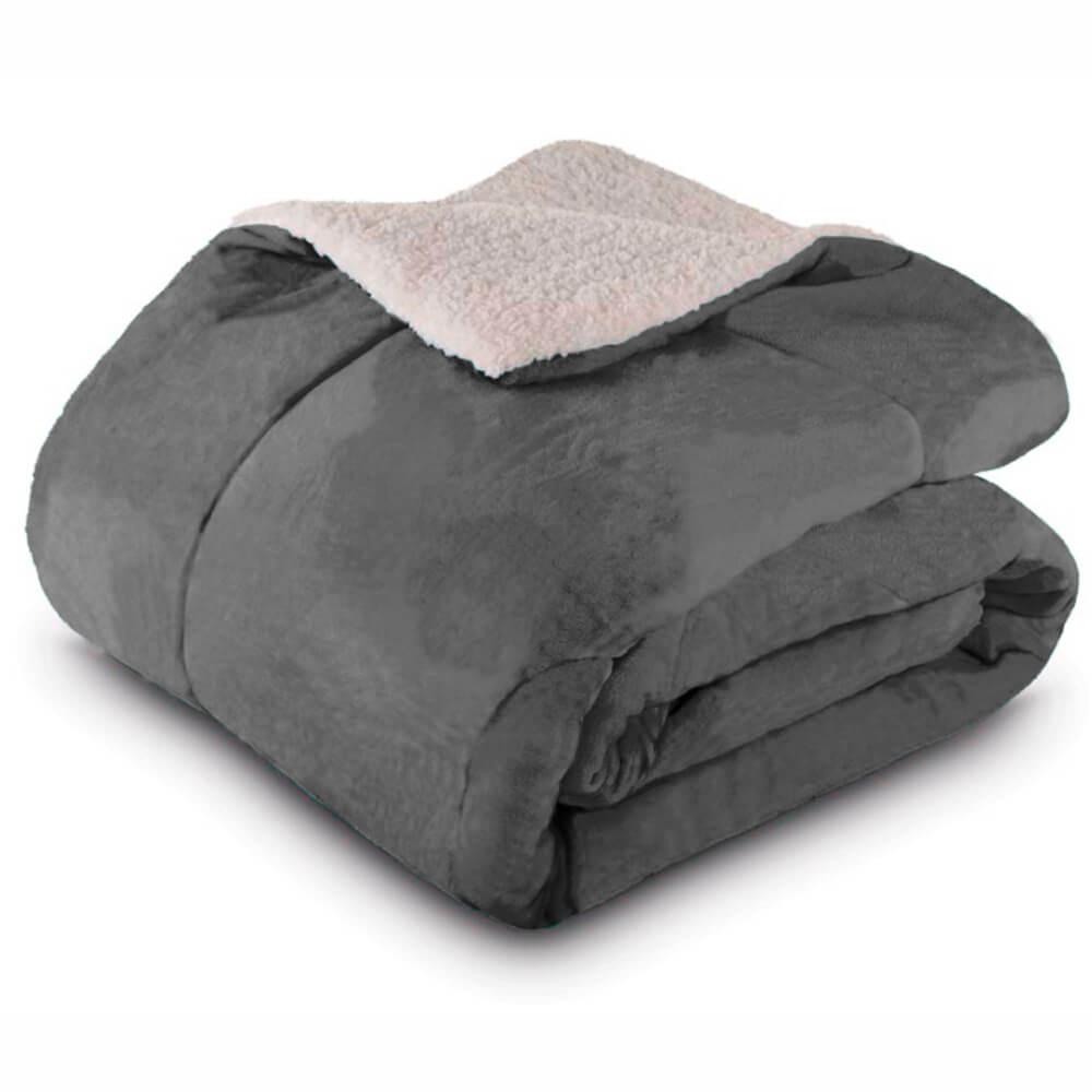 Cobertor Casal Dupla Face Cinza