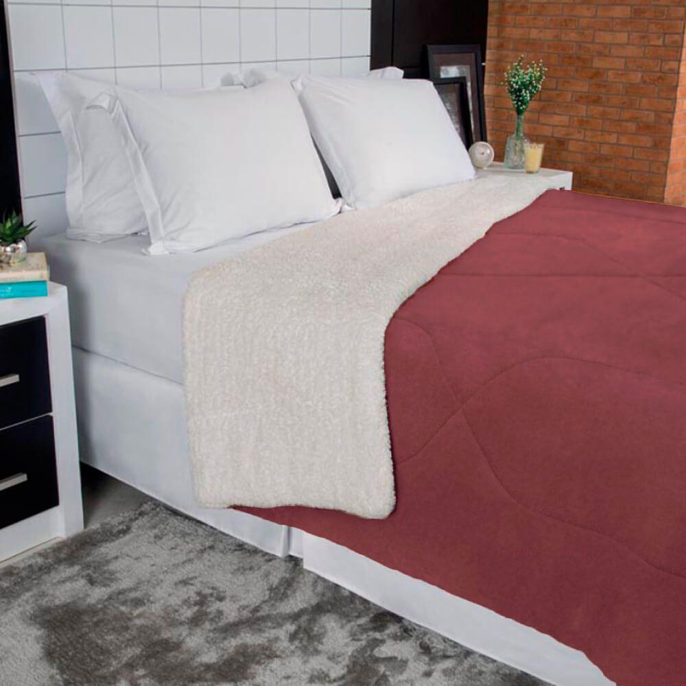 Cobertor Casal Dupla Face Terracota
