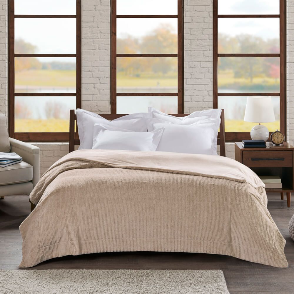 Cobertor Casal Home Design Ilford Bege
