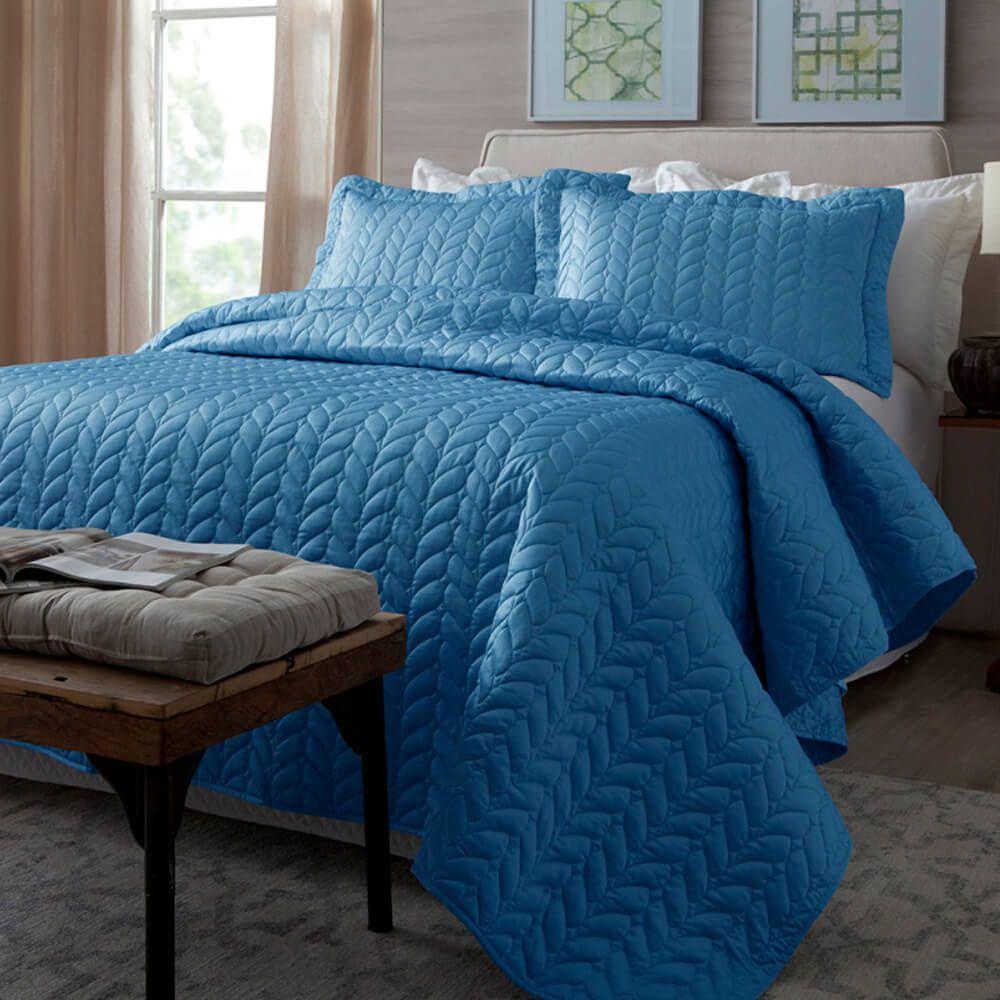 Colcha Casal 3 Peças Home Design Azul