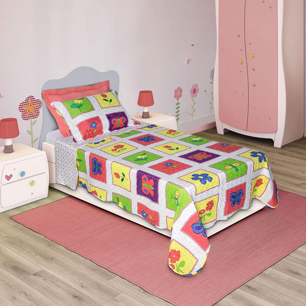 Colcha Infantil 2 Peças Bouti Home Decor Kids Borboleta