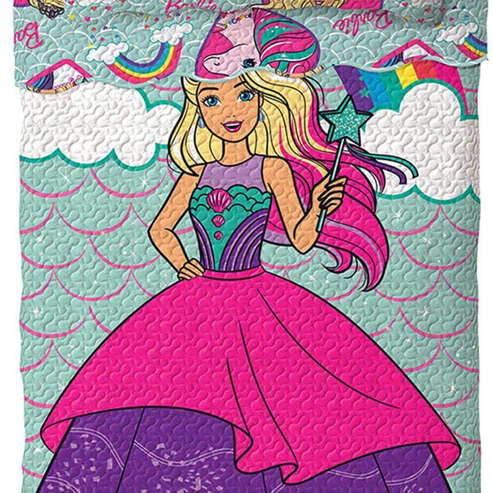 Colcha Infantil 2 Peças Dupla Face Bouti Barbie Reinos Mágicos