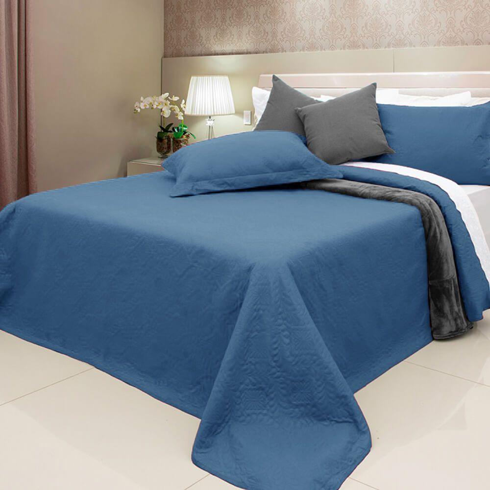 Colcha Queen 3 Peças Elegance Azul