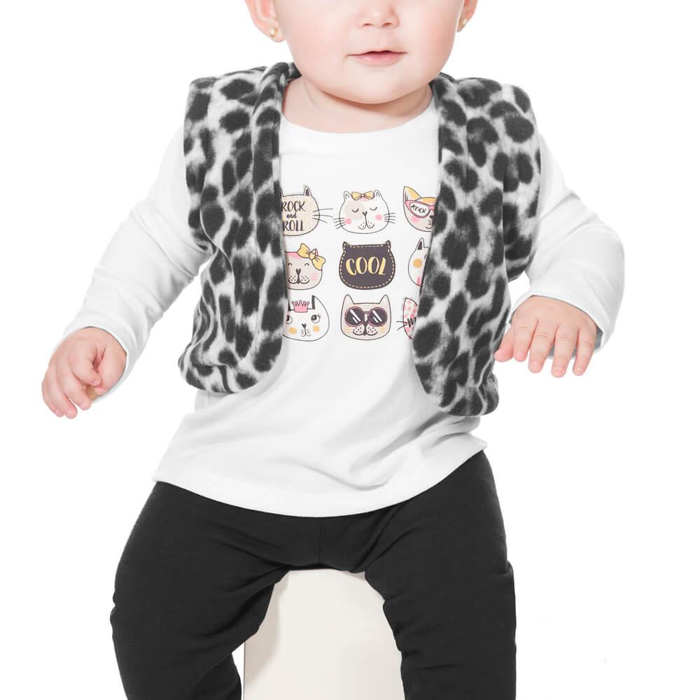 Conjunto Bebê Colete Onça Branco