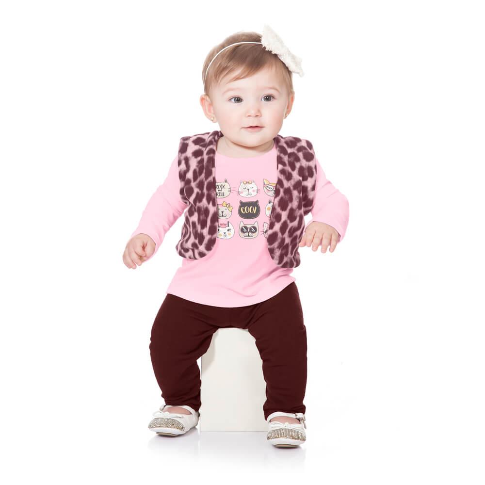 Conjunto Bebê Colete Onça Rosa