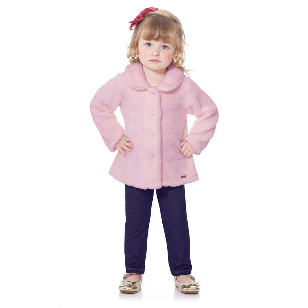 Conjunto Bebê Pelúcia Legging Rosa