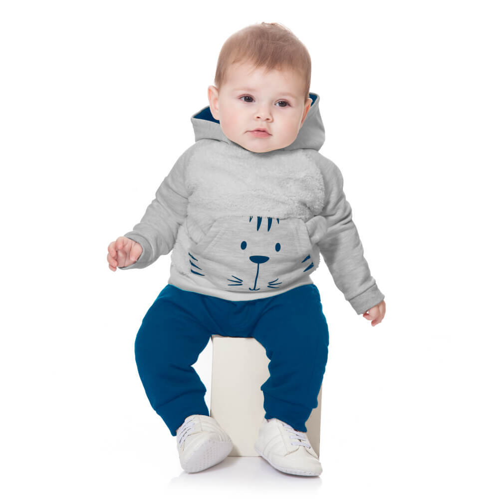 Conjunto Bebê Tigre Cinza