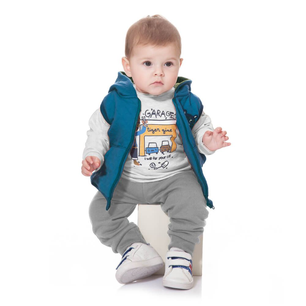 Conjunto Bebê Tigre com Colete Azul