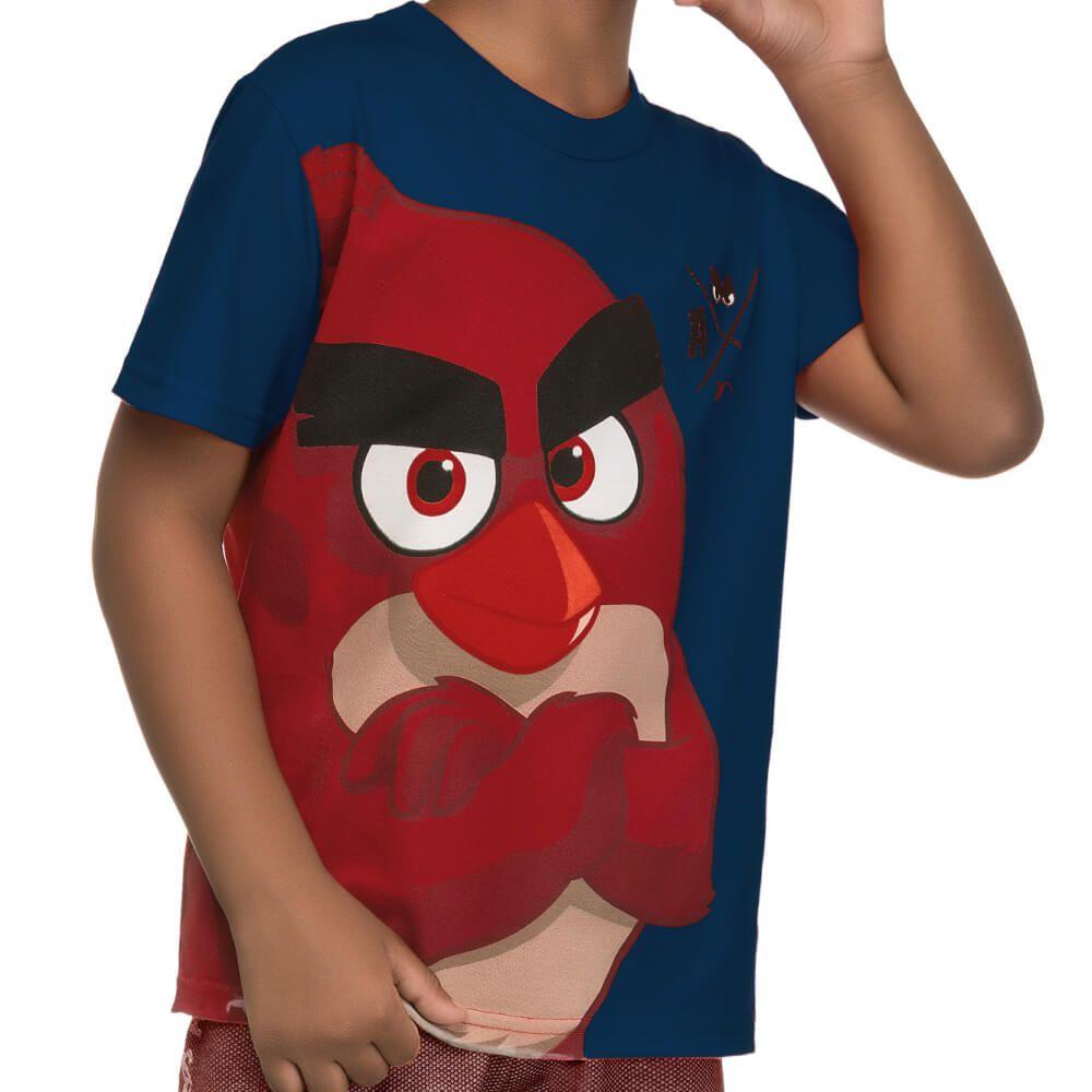 Conjunto Infantil Menino Manga Curta Angry Birds Red Marinho