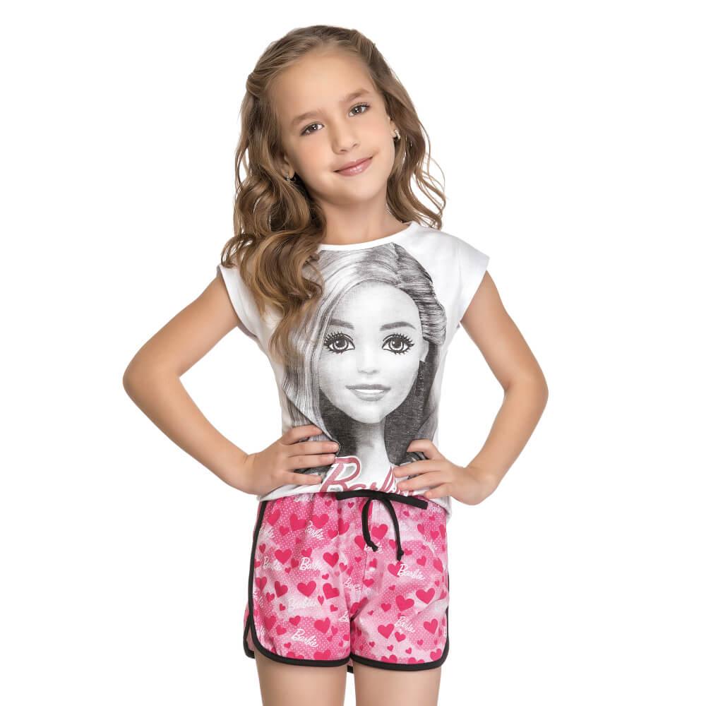 Conjunto Infantil Menina Manga Curta Barbie Branco