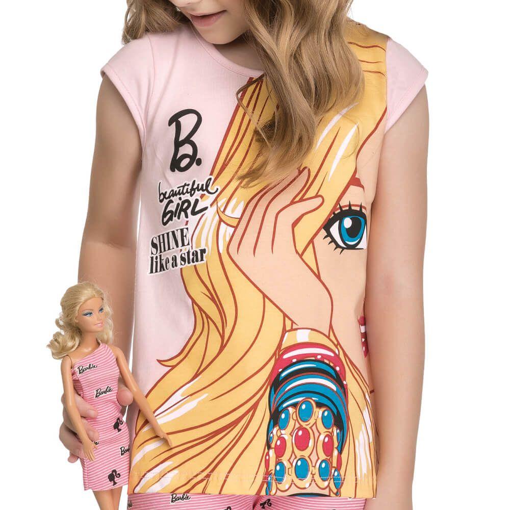 Conjunto Infantil Menina Manga Curta Barbie Doll Rosa