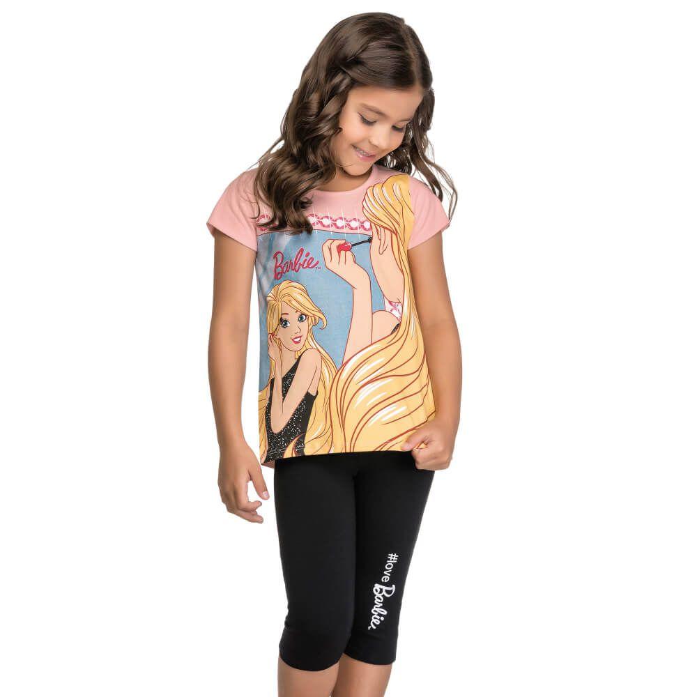 Conjunto Infantil Menina Manga Curta Barbie Espelho Rosa