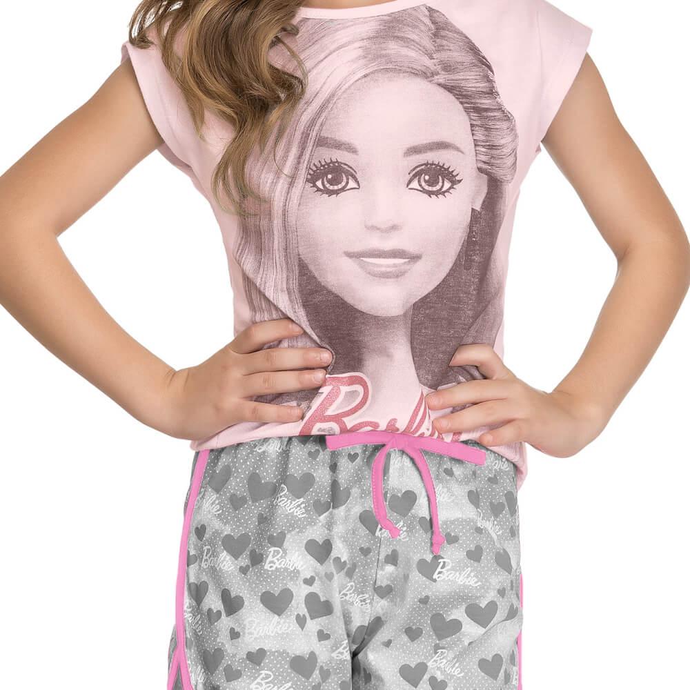 Conjunto Infantil Menina Manga Curta Barbie Rosa