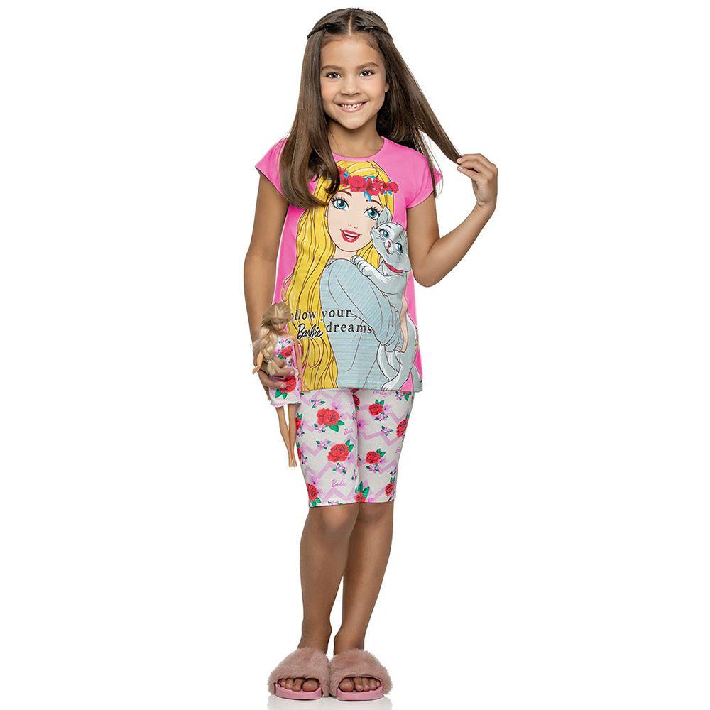 Conjunto Infantil Barbie Rosa