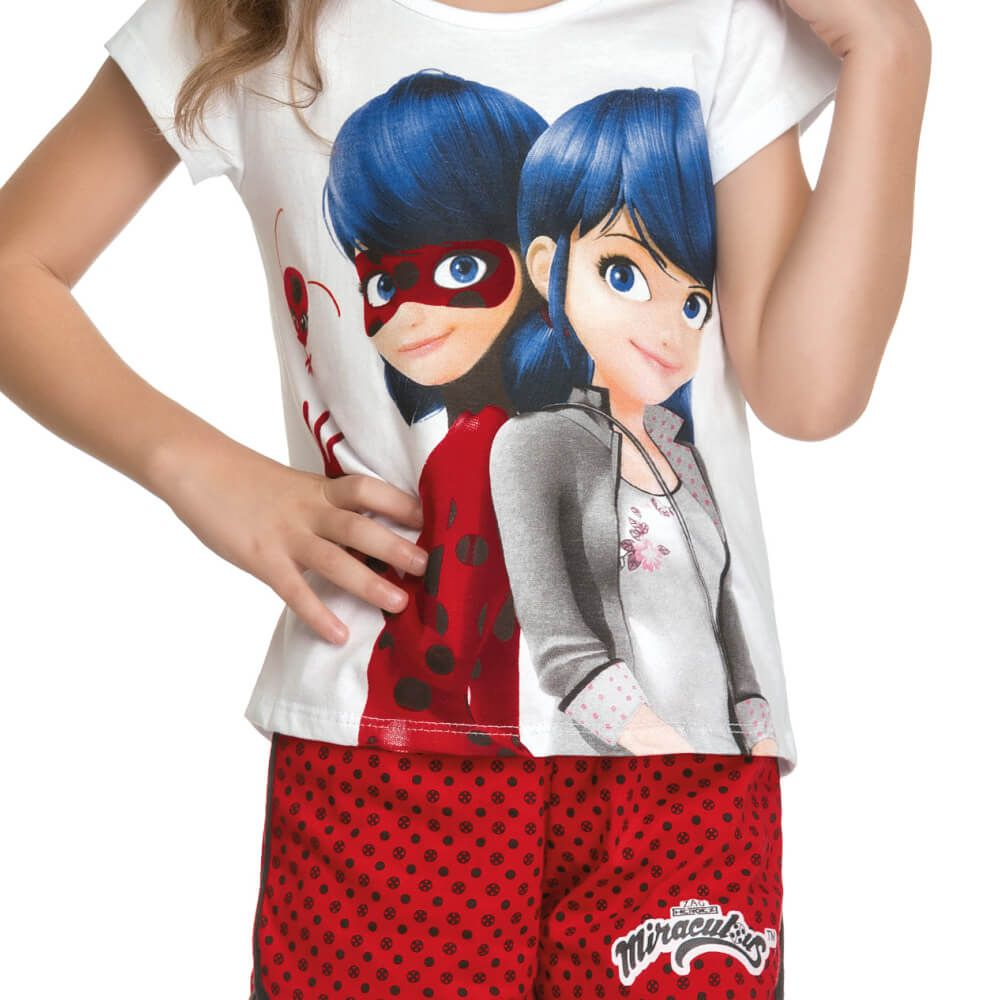 Conjunto Infantil Menina Manga Curta Ladybug