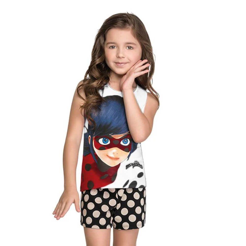 Conjunto Infantil Menina Regata Ladybug Branco