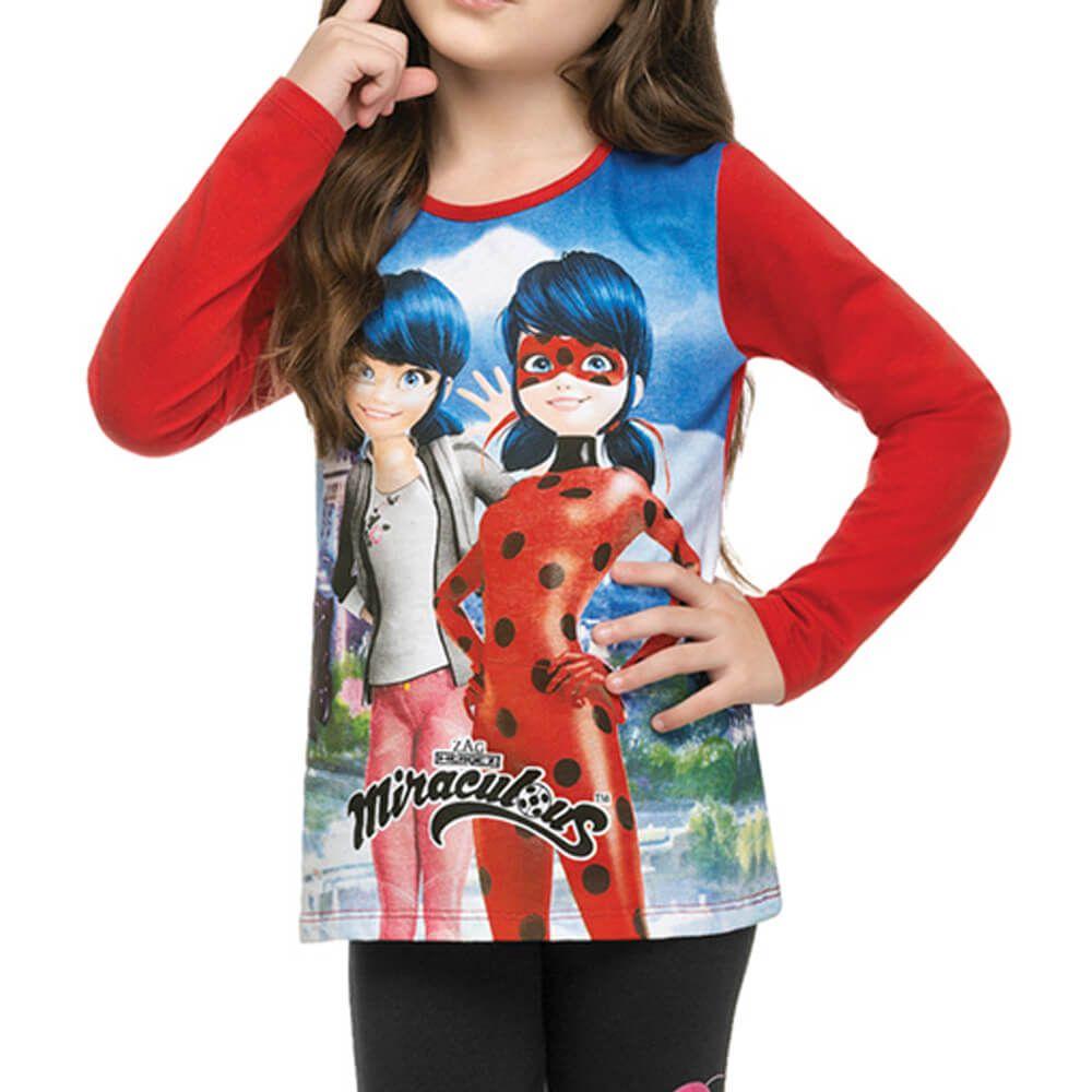 Conjunto Infantil Menina Manga Longa Ladybug Legging