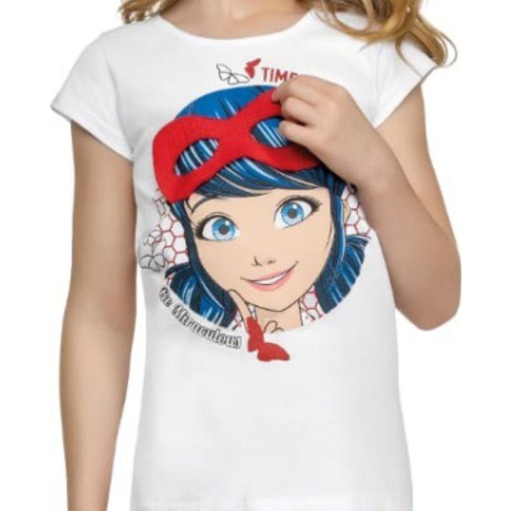 Conjunto Infantil Menina Manga Curta Ladybug Máscara