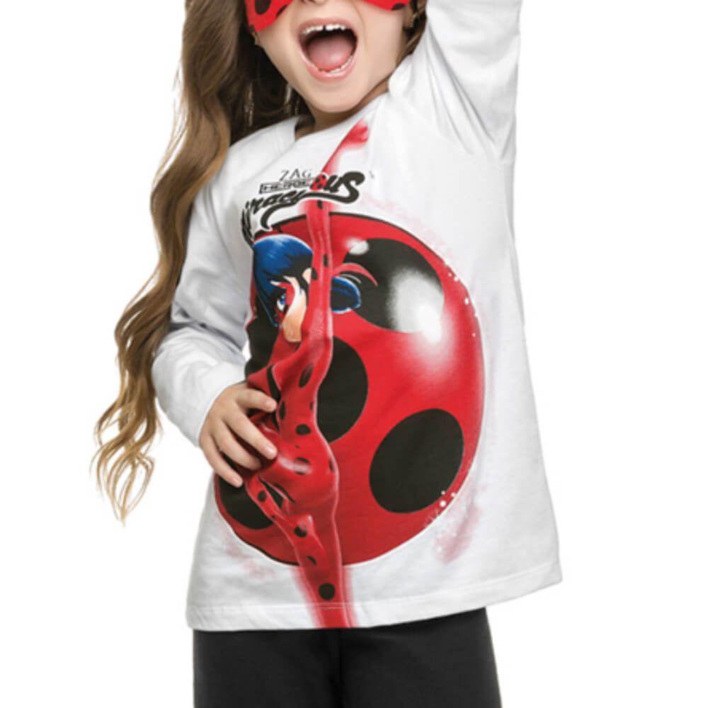 Conjunto Infantil Menina Manga Longa Ladybug Máscara Branco