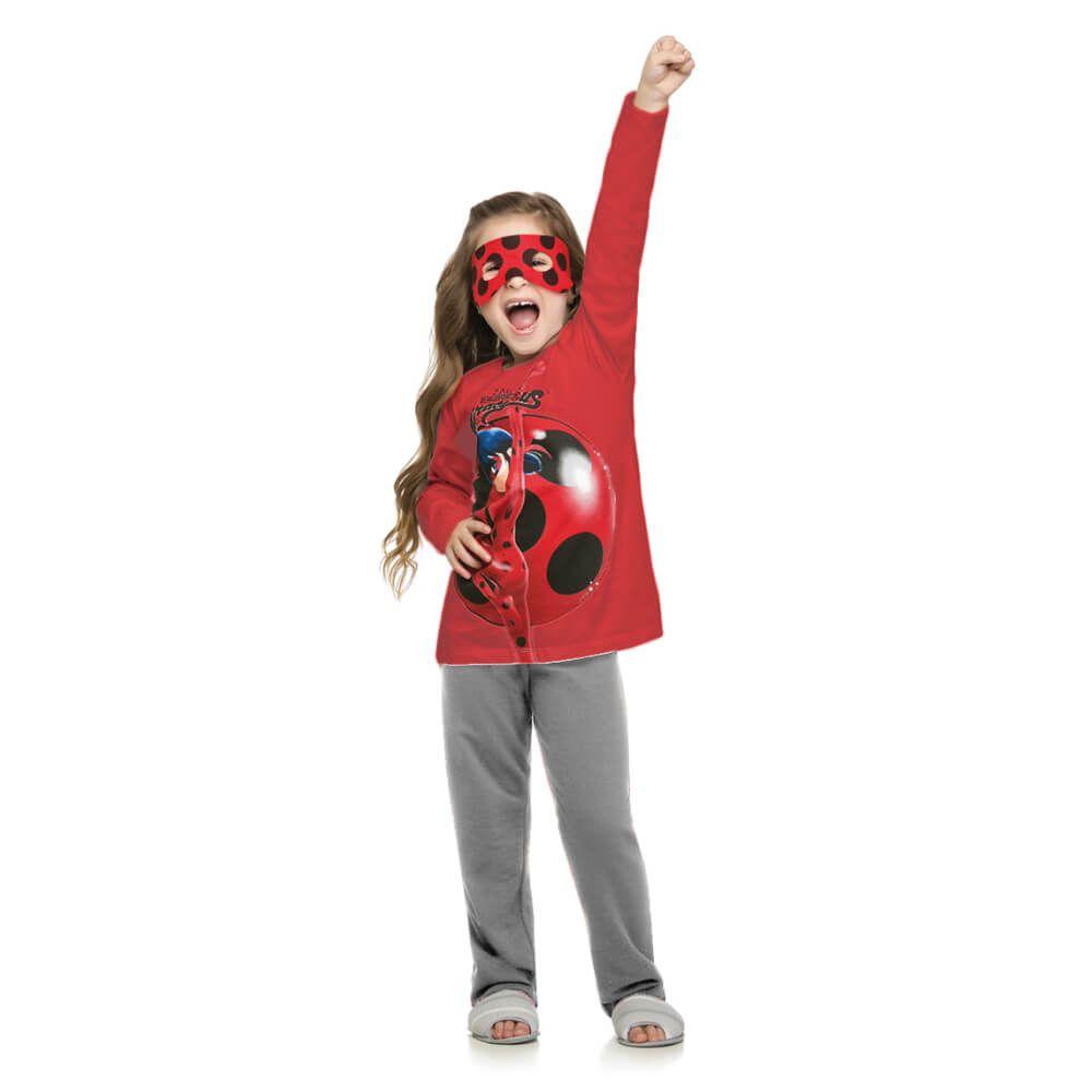 Conjunto Infantil Menina Manga Longa Ladybug Máscara Vermelho