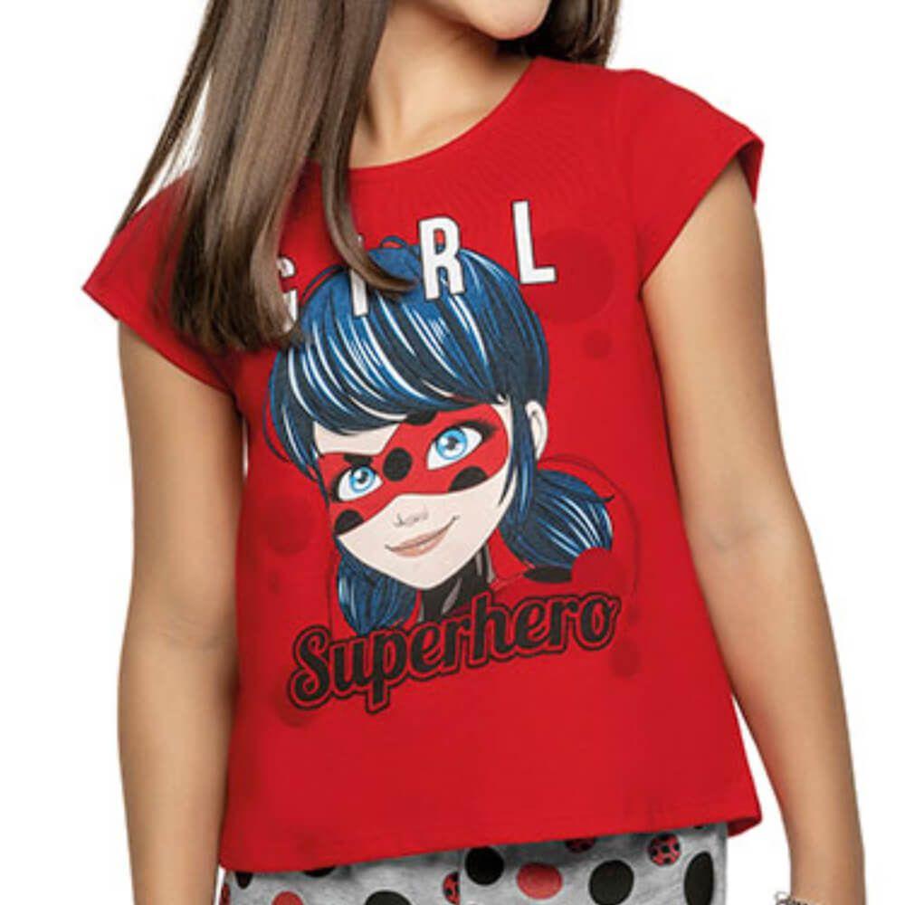 Conjunto Infantil Menina Manga Curta Ladybug Superhero