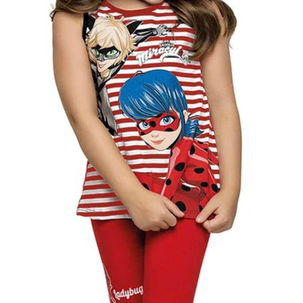 Conjunto Infantil Menina Manga Curta Ladybug Vermelho